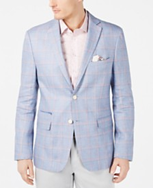 Tallia Orange Men's Slim-Fit Light Blue/Peach Windowpane Linen Sport Coat