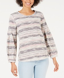 Style & Co Striped Bishop-Sleeve Top, Created for Macy's