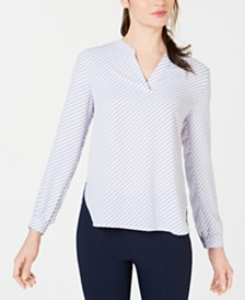 Anne Klein Piazza-Stripe Split-Neck Shirt