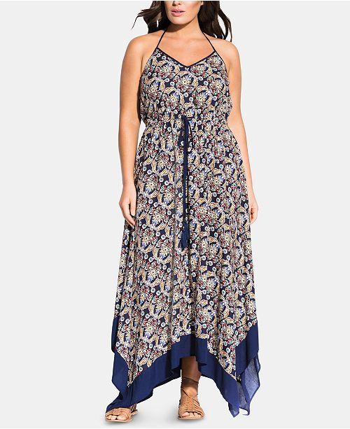 City Chic Trendy Plus Size Boho Border Maxi Dress & Reviews ...