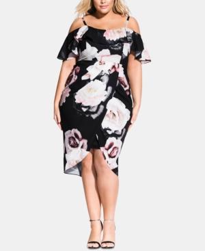 City Chic Dresses TRENDY PLUS SIZE AUSTIN FLORAL OFF-THE-SHOULDER DRESS