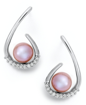 Sterling Silver Earrings, Pink Cultured Freshwater Pearl and Diamond (1/6 ct. t.w.) Drop Earrings