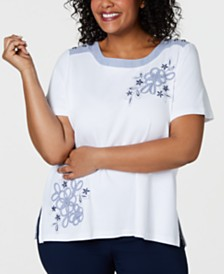 Alfred Dunner Plus Size Smooth Sailing Embellished Top