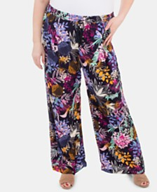 NY Collection Plus Size Tassel-Tie Palazzo Pants