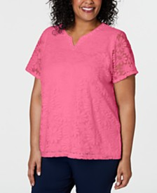 Alfred Dunner Plus Size Classic Floral Lace Top