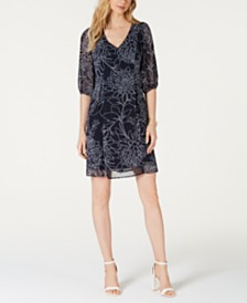 Connected Blouson-Sleeve Chiffon Dress
