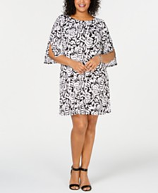MSK Plus Size Split-Sleeve A-Line Dress