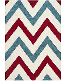 """Shag Kids Ivory and Red 5'3"""" x 7'6"""" Area Rug"""