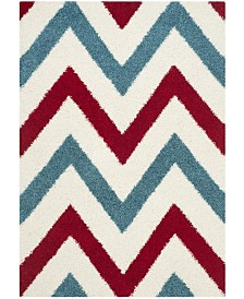 """Safavieh Shag Kids Ivory and Red 5'3"""" x 7'6"""" Area Rug"""