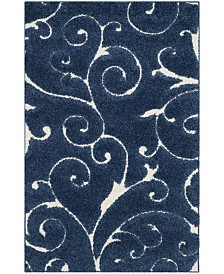Safavieh Shag Dark Blue and Cream 4' x 6' Area Rug