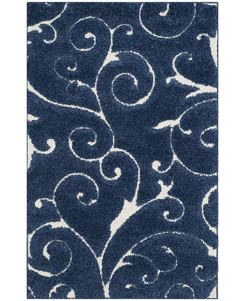 Safavieh Shag Dark Blue and Cream 4' x 6' Area Rug