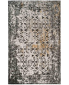 Classic Vintage Black and Silver 6' x 6' Square Area Rug
