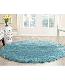 Shag Aqua Blue 3' x 3' Round Area Rug
