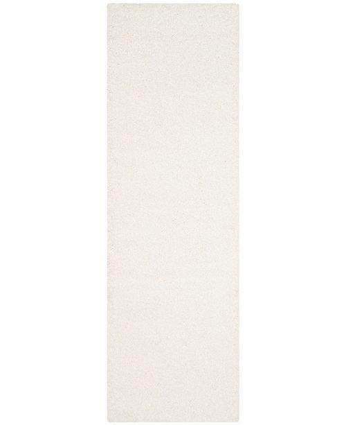 """Safavieh Santa Monica Shag White 2'3"""" X 11' Runner Area Rug"""