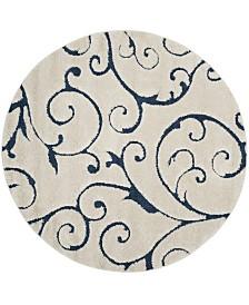 Safavieh Shag Cream and Blue 5' x 5' Round Area Rug
