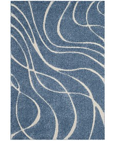 Safavieh Shag Light Blue and Cream 4' x 6' Area Rug