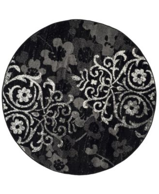 Adirondack Black and Silver 4' x 4' Round Area Rug