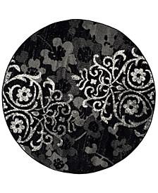 Adirondack Black and Silver 4' x 4' Round Area Rug