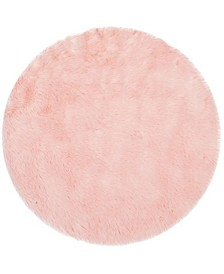 Faux Sheep Skin Pink 5' X 5' Round Area Rug