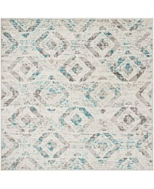 "Skyler Ivory and Blue 6'7"" x 6'7"" Square Area Rug"