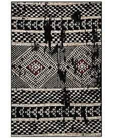 Adirondack Black and Light Gray 4' x 6' Area Rug