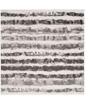 Adirondack Ivory and Charcoal 4' x 4' Square Area Rug