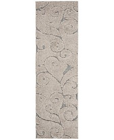 "Safavieh Shag Cream and Light Blue 2'3"" x 7' Runner Area Rug"