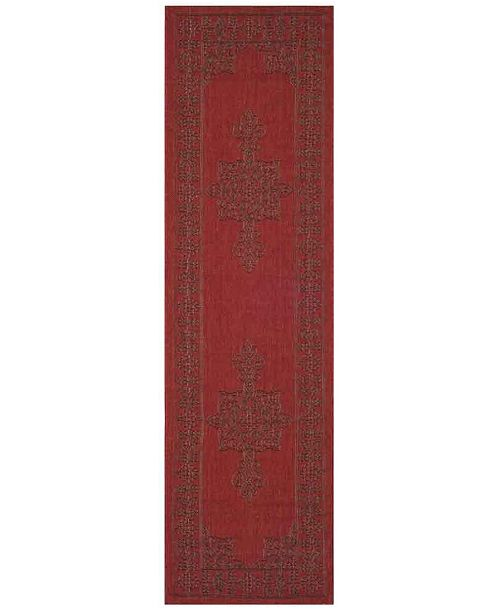 "Safavieh Courtyard Red and Chocolate 2'3"" x 10' Sisal Weave Runner Area Rug"