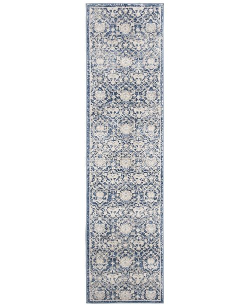 Safavieh Brentwood Navy and Creme 2' x 12' Runner Area Rug