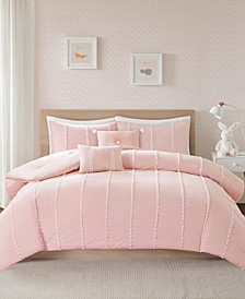 Ayden Full/Queen 5 Piece Cotton Gingham Comforter Set with Jacquard Pompoms