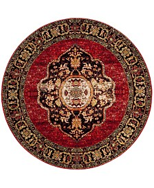 "Safavieh Vintage Hamadan Red and Multi 6'7"" x 6'7"" Round Area Rug"
