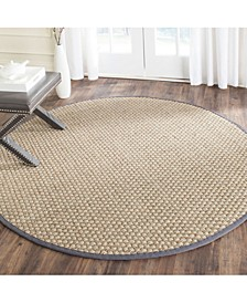 Natural Fiber Natural and Dark Gray 8' x 8' Sisal Weave Round Area Rug