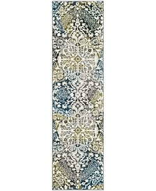 "Watercolor Ivory and Peacock Blue 2'2"" x 6' Runner Area Rug"