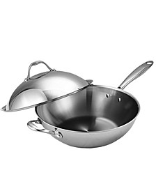 """13"""" Multi-Ply Clad Stainless Steel Wok Stir Fry Pan with Dome Lid"""