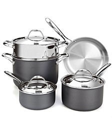 8-Piece Multi-Ply Clad Hard Anodized Cookware Set, Stainless Steel