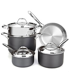Cooks Standard 8-Piece Multi-Ply Clad Hard Anodized Cookware Set, Stainless Steel