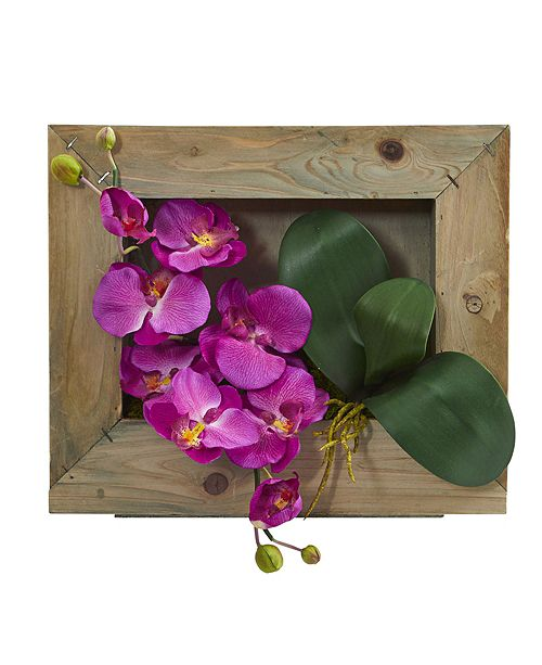 Nearly Natural Phalaenopsis Orchid Artificial Arrangement in Wooden Picture Frame