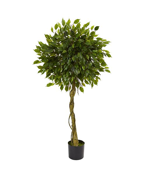 Nearly Natural 5' Ficus Artificial Topiary Tree, UV Resistant