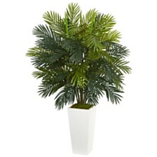 "Nearly Natural 45"" Areca Palm Artificial Plant in White Tower Planter"