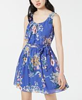 d2cdd5dd75 BCX Juniors  Floral-Print Chiffon Fit   Flare Dress