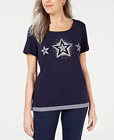 Karen Scott Plus Size Cotton Stars Top, Created for Macy's
