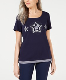 Karen Scott Petite Cotton Striped Star T-Shirt, Created for Macy's