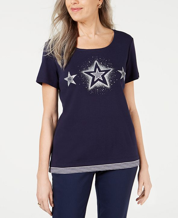 Karen Scott Plus Size Cotton Stars Top, Created for Macy's