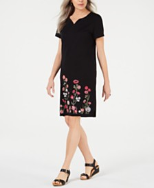 Karen Scott Embroidered Shift Dress, Created for Macy's