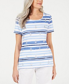 Petite Striped Anchor-Print Top, Created for Macy's