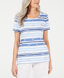 Karen Scott Petite Striped Anchor-Print Top, Created for Macy's