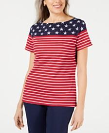 Karen Scott Flag-Print Boatneck Top, Created for Macy's