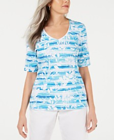 Karen Scott Petite Floral-Print Striped Top, Created for Macy's