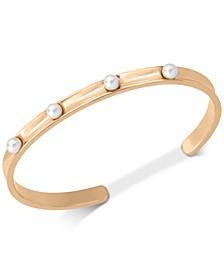 Stainless Steel Imitation Pearl Cuff Bracelet