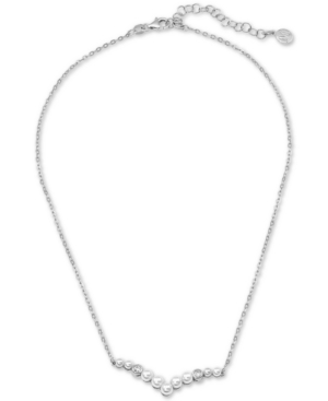"""Majorica Accessories STERLING SILVER IMITATION PEARL & CRYSTAL PENDANT NECKLACE, 15"""" + 2"""" EXTENDER"""